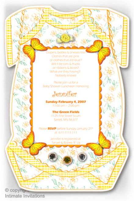 One Baby invitation, Butterflies, ribbon rose, rhinestones, Yellow