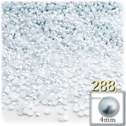 Half Dome Pearl, Plastic beads, 4mm, 288-pc, Irish Blue Pearl