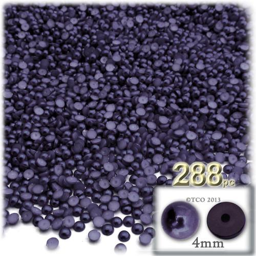 Half Dome Pearl, Plastic beads, 4mm, 288-pc, Blueberry Purple
