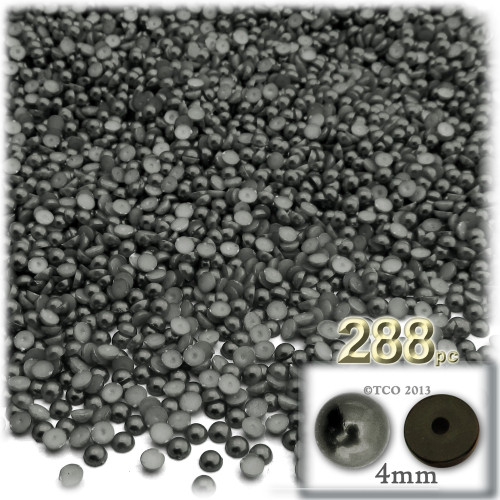 Half Dome Pearl, Plastic beads, 4mm, 288-pc, Charcoal Gray
