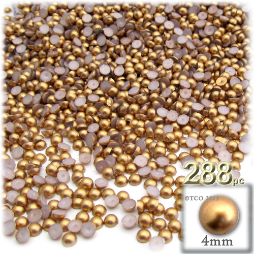 Half Dome Pearl, Plastic beads, 4mm, 288-pc, Golden Caramel Brown