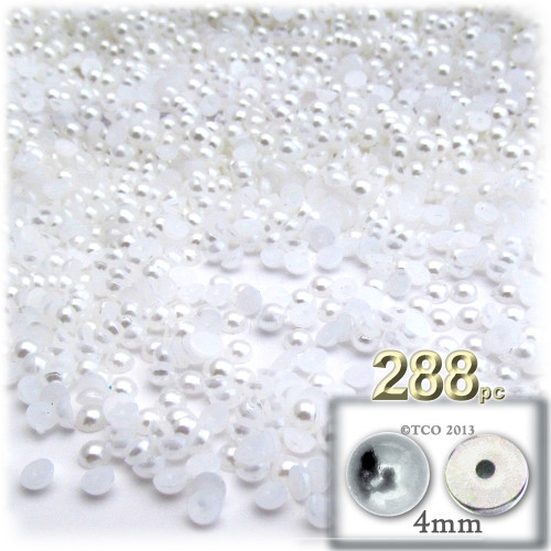 Half Dome Pearl, Plastic beads, 4mm, 288-pc, Pearl White