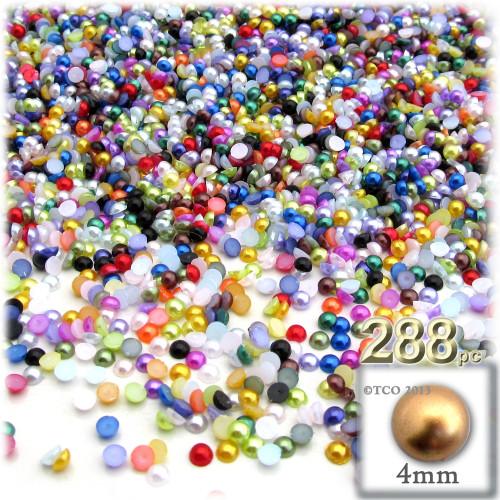 Half Dome Pearl, Plastic beads, 4mm, 288-pc, Multi Mix