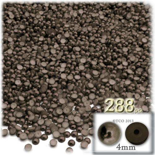 Half Dome Pearl, Plastic beads, 4mm, 288-pc, Milk Chocolate Brown