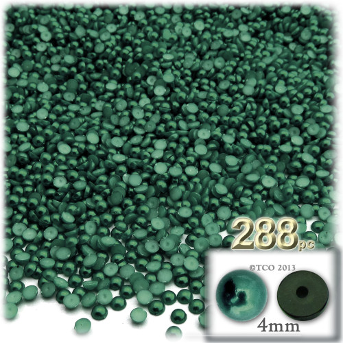Half Dome Pearl, Plastic beads, 4mm, 288-pc, Forest Green
