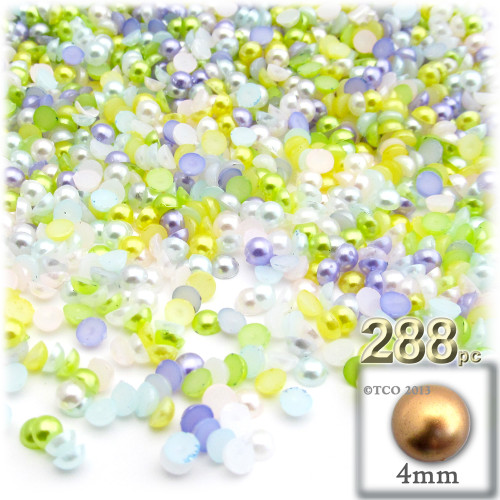 Half Dome Pearl, Plastic beads, 4mm, 288-pc, Pastel Mix