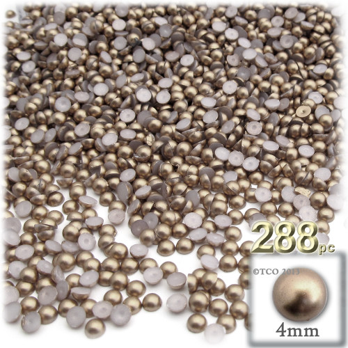 Half Dome Pearl, Plastic beads, 4mm, 288-pc, Cocco Butter Brown