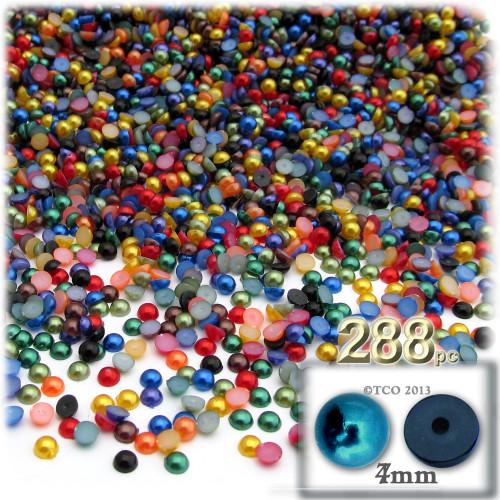 Half Dome Pearl, Plastic beads, 4mm, 288-pc, Jewel Tone Mix