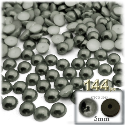 Half Dome Pearl, Plastic beads, 5mm, 144-pc, Charcoal Gray