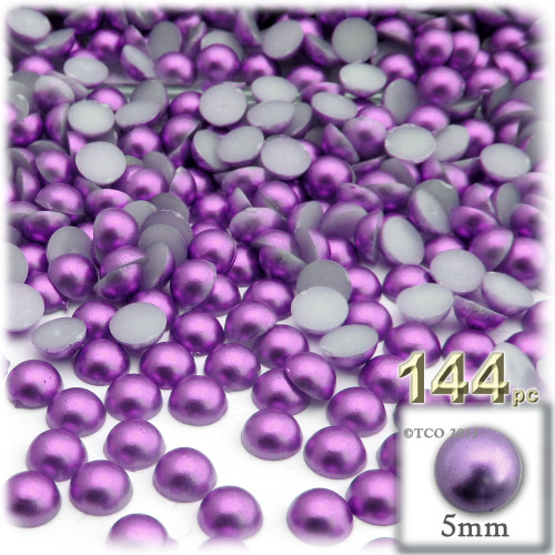 Half Dome Pearl, Plastic beads, 5mm, 144-pc, Luxplum Purple