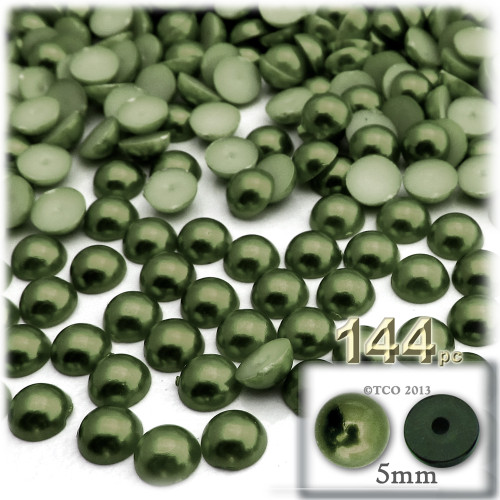 Half Dome Pearl, Plastic beads, 5mm, 144-pc, Olive Green