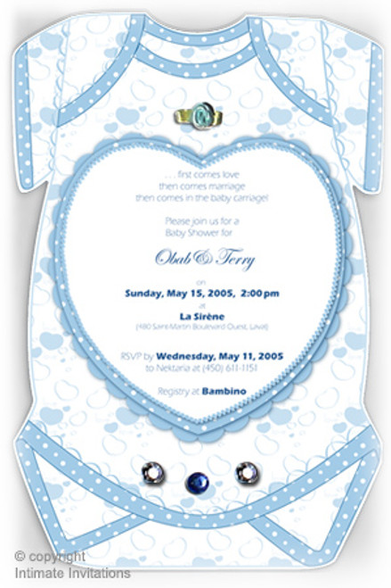 One Baby invitation, Heart, ribbon rose, rhinestones, Blue