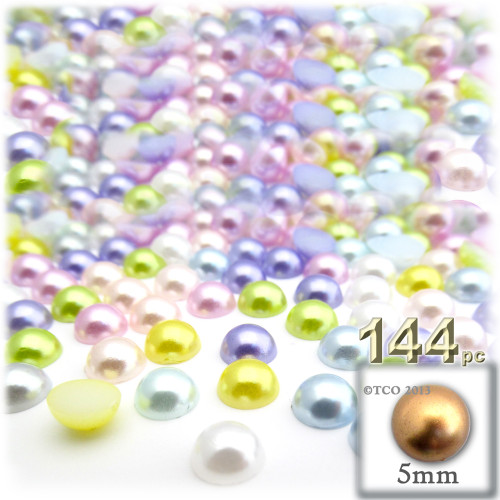 Half Dome Pearl, Plastic beads, 5mm, 144-pc, Pastel Mix