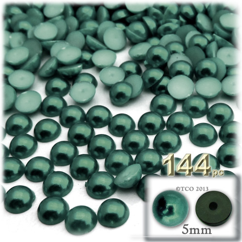 Half Dome Pearl, Plastic beads, 5mm, 144-pc, Forest Green