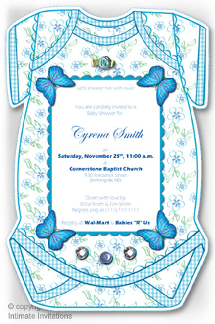 One Baby invitation, Butterflies, ribbon rose, rhinestones, Blue