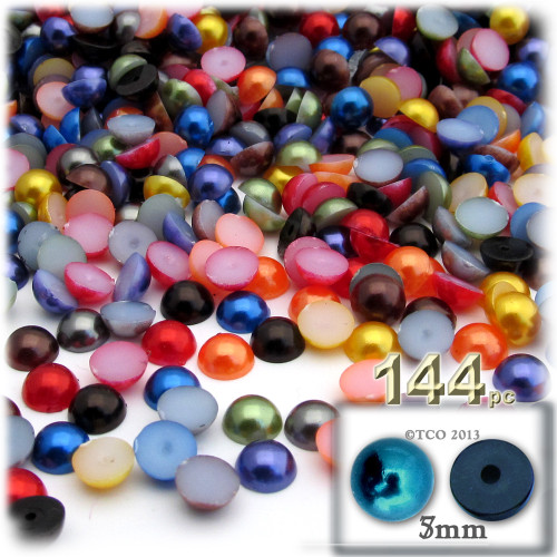 Half Dome Pearl, Plastic beads, 5mm, 144-pc, Jewel Tone Mix