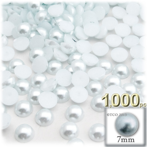 Half Dome Pearl, Plastic beads, 7mm, 1,000-pc, Irish Blue Pearl