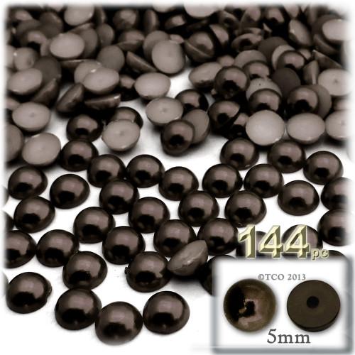 Half Dome Pearl, Plastic beads, 5mm, 144-pc, Mocha Brown