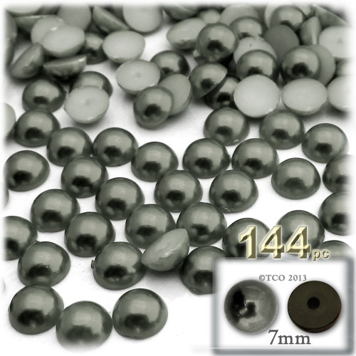 Half Dome Pearl, Plastic beads, 7mm, 144-pc, Charcoal Gray
