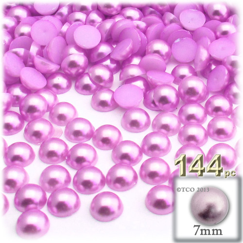 Half Dome Pearl, Plastic beads, 7mm, 144-pc, Plush Pink
