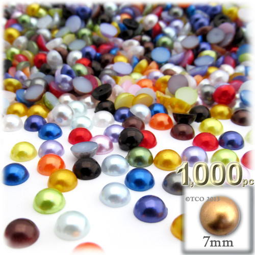 Half Dome Pearl, Plastic beads, 7mm, 1,000-pc, Multi Mix