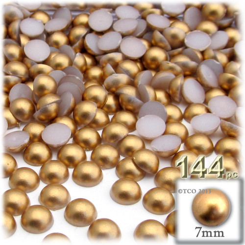 Half Dome Pearl, Plastic beads, 7mm, 144-pc, Golden Caramel Brown