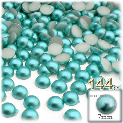 Half Dome Pearl, Plastic beads, 7mm, 144-pc, Aquamarine Blue