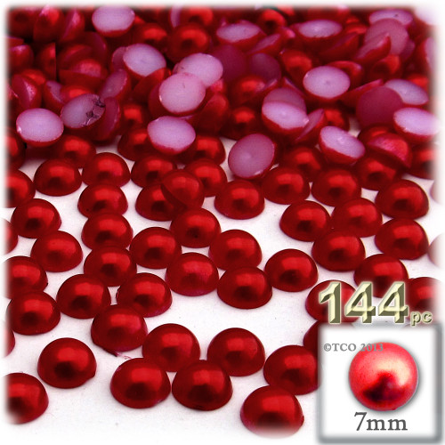 Half Dome Pearl, Plastic beads, 7mm, 144-pc, Pearl Red