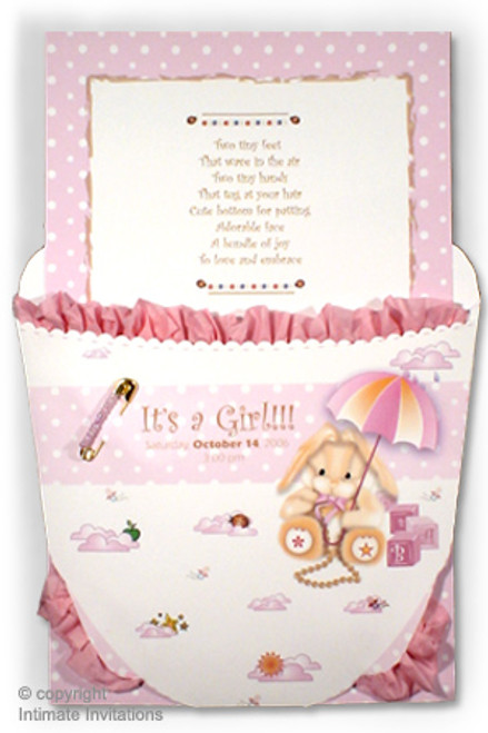 Ruffled Baby Diaper Invitation; Pink with Carousel theme