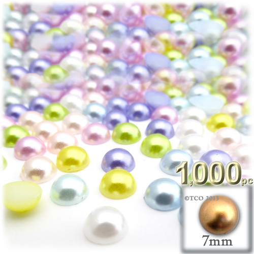 Half Dome Pearl, Plastic beads, 7mm, 1,000-pc, Pastel Mix