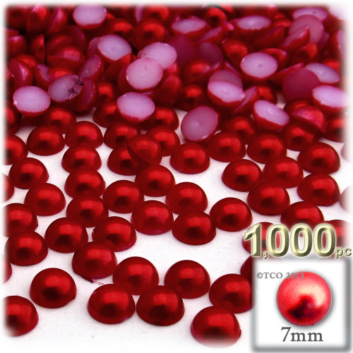 Half Dome Pearl, Plastic beads, 7mm, 1,000-pc, Pearl Red