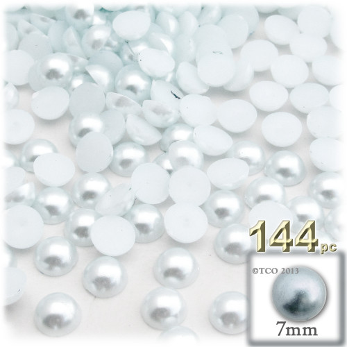 Half Dome Pearl, Plastic beads, 7mm, 144-pc, Irish Blue Pearl