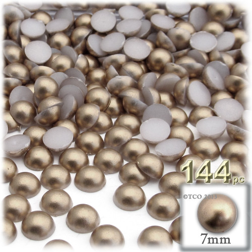 Half Dome Pearl, Plastic beads, 7mm, 144-pc, Cocco Butter Brown