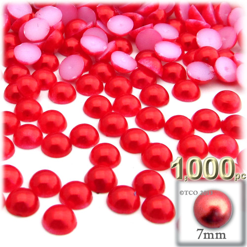 Half Dome Pearl, Plastic beads, 7mm, 1,000-pc, Tulip Red