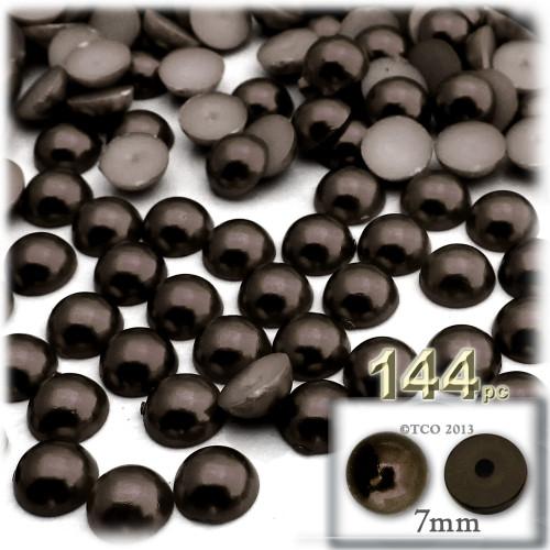 Half Dome Pearl, Plastic beads, 7mm, 144-pc, Mocha Brown