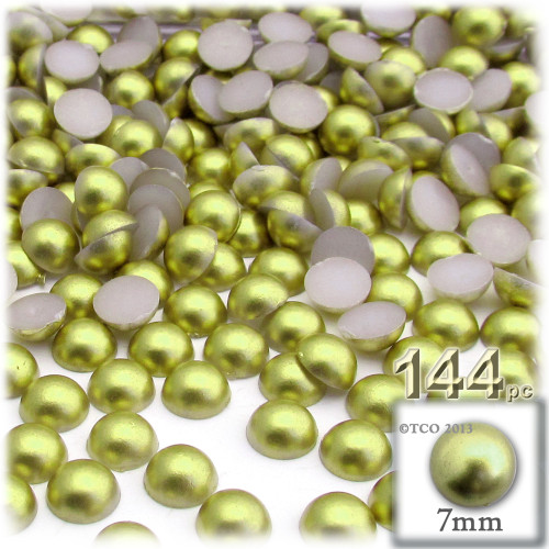 Half Dome Pearl, Plastic beads, 7mm, 144-pc, Bright Phosphoric Green