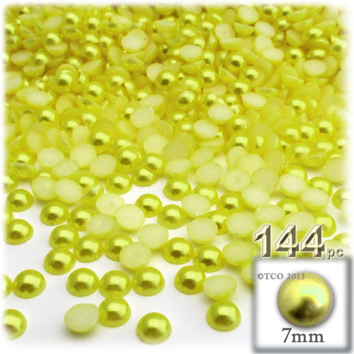 Half Dome Pearl, Plastic beads, 7mm, 144-pc, Yellow Rays