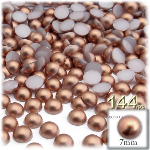 Half Dome Pearl, Plastic beads, 7mm, 144-pc, Rustic Copper Brown