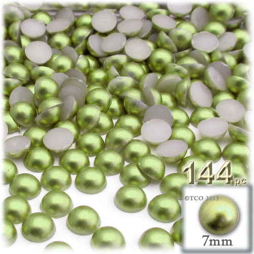 Half Dome Pearl, Plastic beads, 7mm, 144-pc, Grass Green