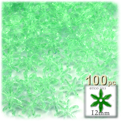 Starflake bead, SnowFlake, Cartwheel, Transparent, 12mm, 100-pc, Sea Mist