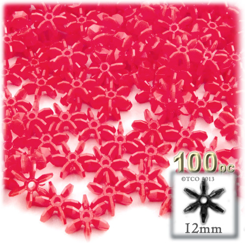 Starflake bead, SnowFlake, Cartwheel, Opaque, 12mm, 100-pc, Red
