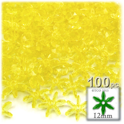 Starflake bead, SnowFlake, Cartwheel, Transparent, 12mm, 100-pc, Acid Yellow