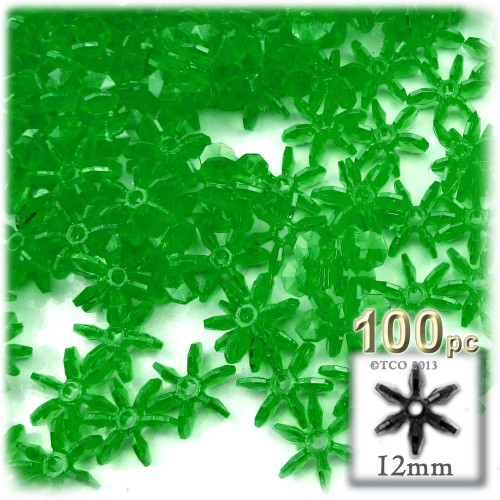 Starflake bead, SnowFlake, Cartwheel, Transparent, 12mm, 100-pc, Emerald green
