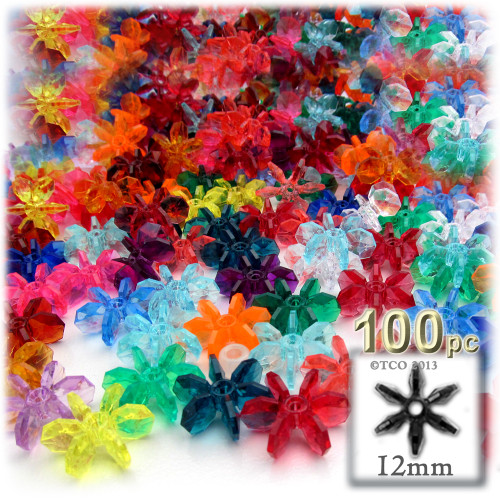 Starflake bead, SnowFlake, Cartwheel, Transparent, 12mm, 100-pc, Multi Mix