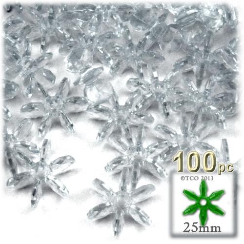 Starflake bead, SnowFlake, Cartwheel, Transparent, 25mm, 100-pc, Clear