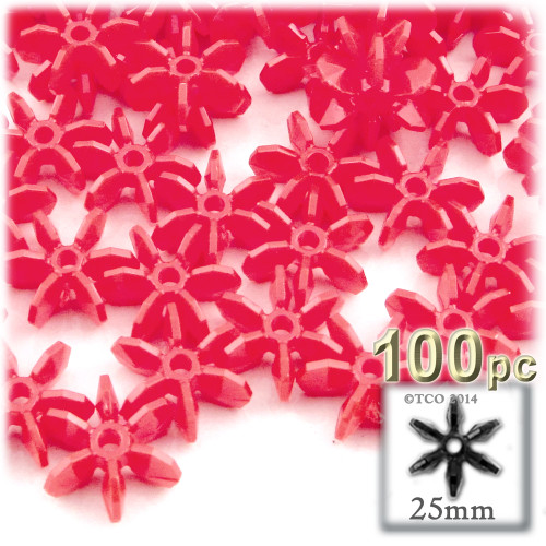Starflake bead, SnowFlake, Cartwheel, Opaque, 25mm, 100-pc, Red