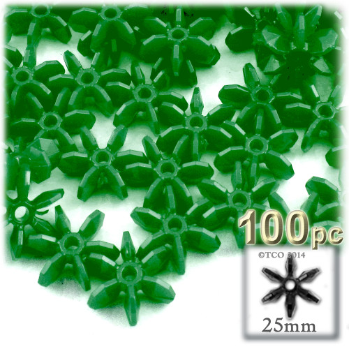 Starflake bead, SnowFlake, Cartwheel, Opaque, 25mm, 100-pc, Emerald Green