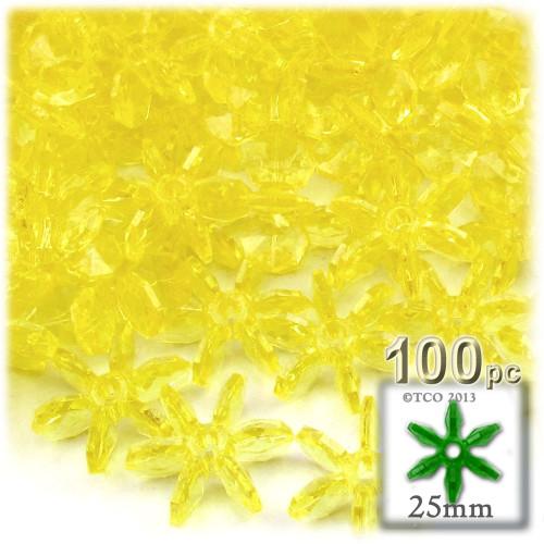 Starflake bead, SnowFlake, Cartwheel, Transparent, 25mm, 100-pc, Acid Yellow