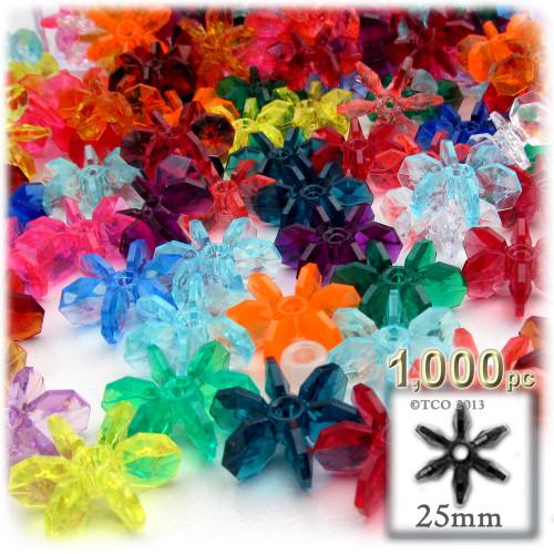 Starflake bead, SnowFlake, Cartwheel, Transparent, 25mm, 1,000-pc, Multi Mix