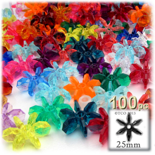 Starflake bead, SnowFlake, Cartwheel, Transparent, 25mm, 100-pc, Multi Mix